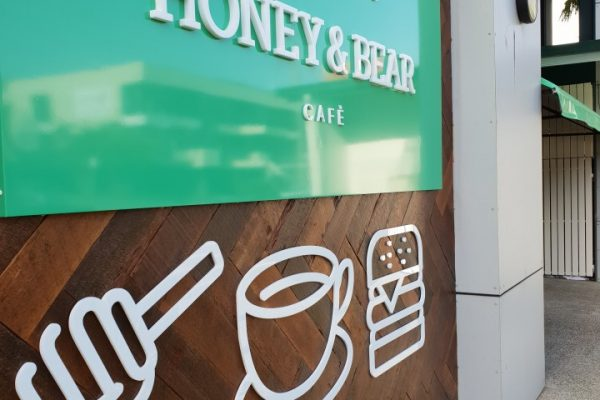 Honey & Bear Cafe – Laser cut letters & Logo
